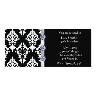 Black and White Diamond Birthday Invitation