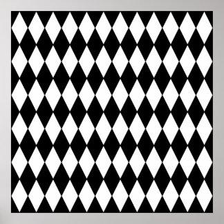 Black and White Diamond Harlequin Pattern Poster
