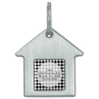 Black and White Diamond Pattern by Shirley Taylor Pet Name Tag