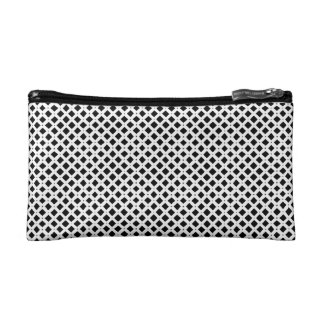 Black and White Diamond Pattern Cosmetic Bag