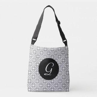 Black and White Diamond Pattern Crossbody Bag