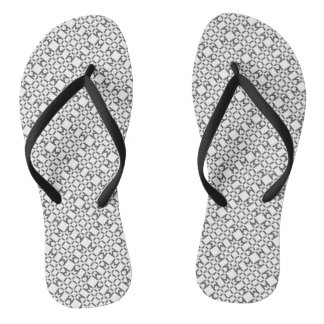 Black and White Diamond Pattern Flip Flops