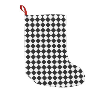 Black And White Diamond Pattern Small Christmas Stocking