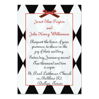 Black and White Diamonds Wedding Invitation