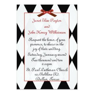 Black and White Diamonds Wedding Invitation