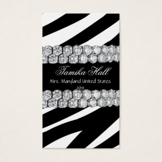 Black and White DiamondZebra Pageant Business Card