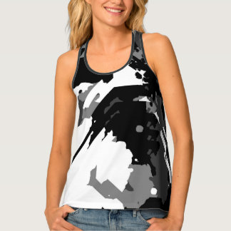 Black and White Distortion Tank Top