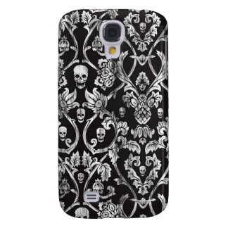 Black and white distressed skull damask. galaxy s4 case