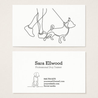 Black and White Dog Minimalist Line Business Card