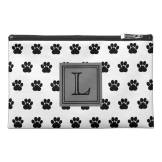 Black and White Dog Paw Print With Monogram Travel Accessory Bag