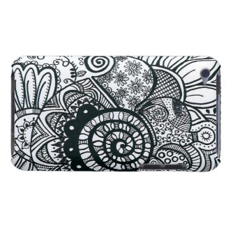 """""""Black and White"""" Doodle 4th Generation Barely There iPod Covers"""