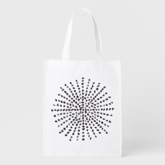 Black and White Dot Burst Reusable Bag