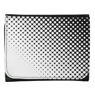 Black and White Dots Leather Wallet