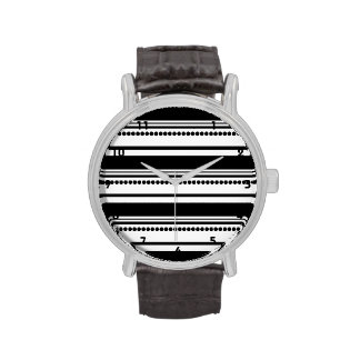 Black and White Dots, Stripes Wrist Watches