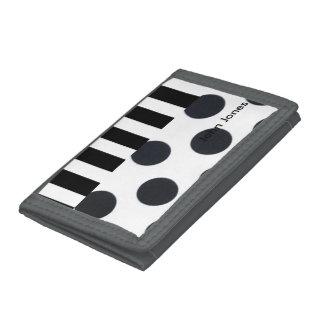Black and White Dots/Stripes Tri-fold Wallet