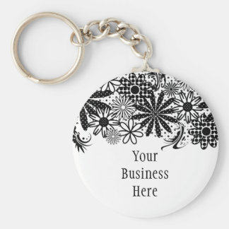 Black And White Dotted Flowers Keychain