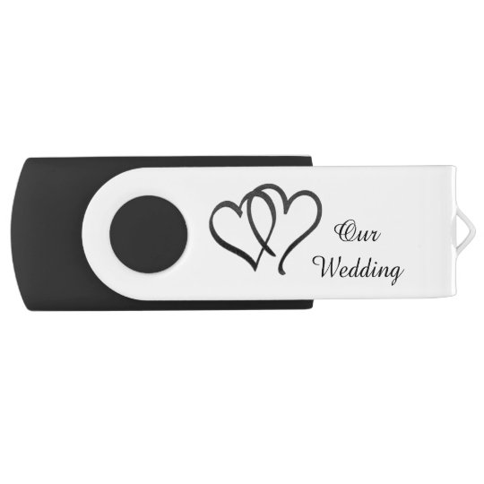 Black and White Double Heart Wedding USB Drive