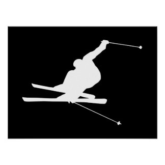 Black and White Downhill Skier Poster