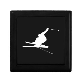 Black and White Downhill Skier Small Square Gift Box