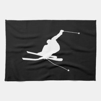 Black and White Downhill Skier Tea Towel
