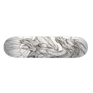 black and white dragon custom skateboard