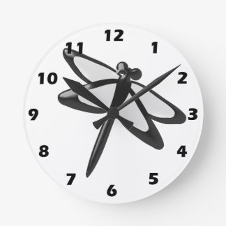 Black And White Dragonfly Round Clock
