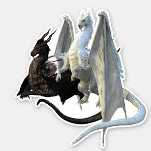 Black and White Dragons Yin Yang