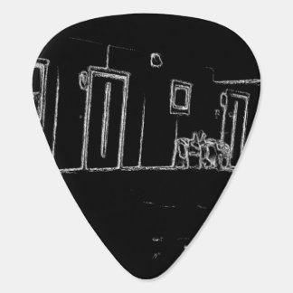 black and white drawing plectrum