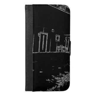 black and white drawing iPhone 6/6s plus wallet case