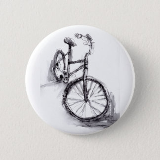 Black and White Drawing Of Bike 6 Cm Round Badge
