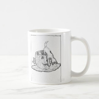 Black and white drawing of cats and a Jack o lante Basic White Mug