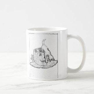 Black and white drawing of cats and a Jack o lante Basic White Mug