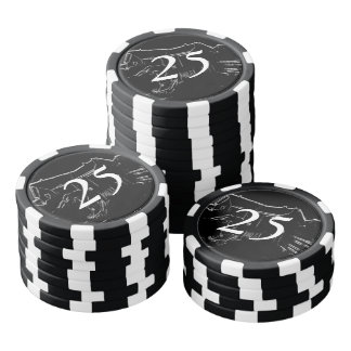 black and white drawing poker chips