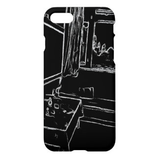 black and white drawing resting room iPhone 8/7 case