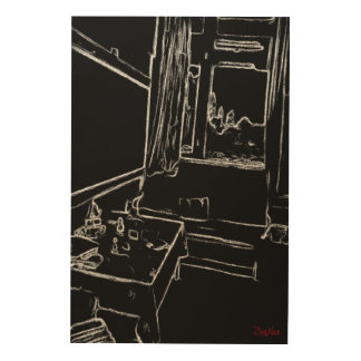 black and white drawing resting room wood print