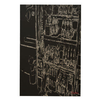 black and white drawing wood wall art