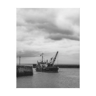 Black and White Dredger Stretched Canvas Prints