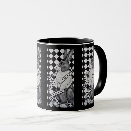 Black and White Dutch Rabbit Geometric Design Mug