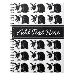 Black and White Dutch Rabbits Custom Notebook