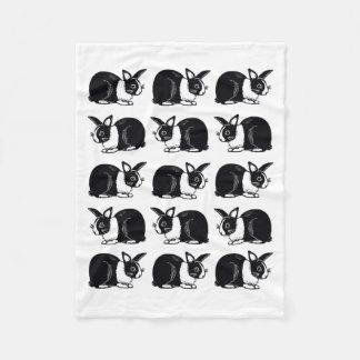 Black and White Dutch Rabbits Fleece Blanket
