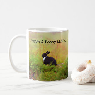 Black And White Easter Bunny In Colorful Foliage Coffee Mug