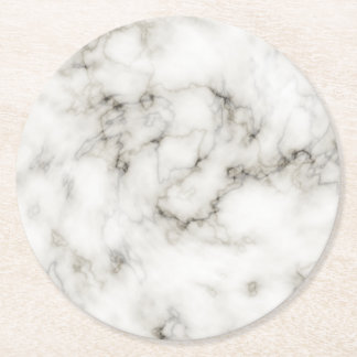 black and white Ebony Ivory marble stone finish Round Paper Coaster