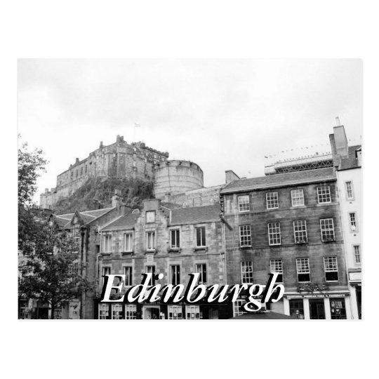 Black and white Edinburgh Castle Scotland postcard