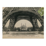Black and White Eiffel Tower Base Postcard