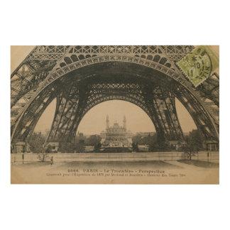 Black and White Eiffel Tower Base Wood Print