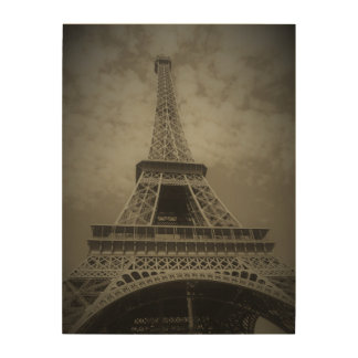 Black and White Eiffel Tower on Canvas Wood Wall Decor