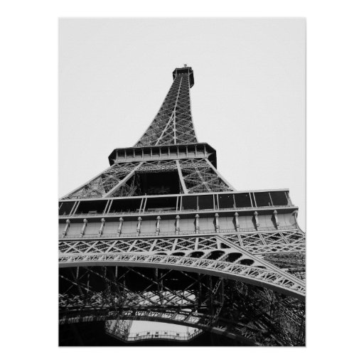 Black and White Eiffel Tower Poster