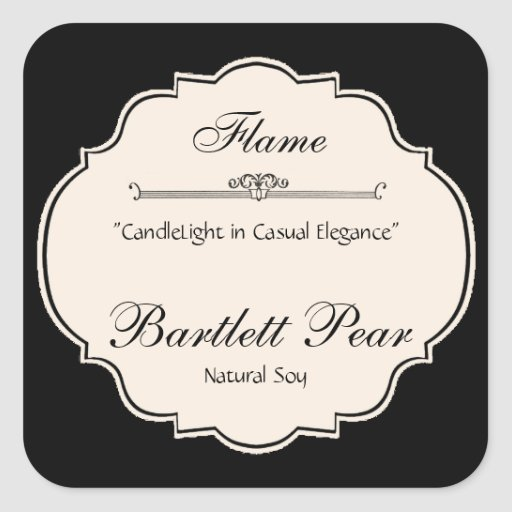 Black and White Elegance Candle Label Sticker