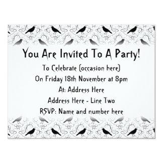 Black and White Elegant Crow Pattern. 11 Cm X 14 Cm Invitation Card