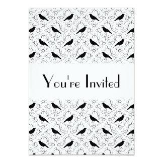 Black and White Elegant Crow Pattern. 13 Cm X 18 Cm Invitation Card